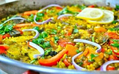 Spaanse keuken: vegetarische paella