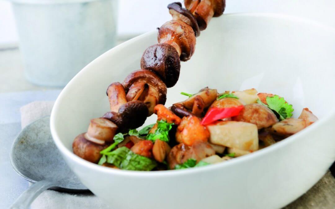 Vegetarische barbecue: Mexicaanse mixed grill van paddenstoelen