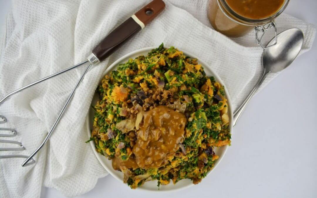 Zoete aardappelstamppot met boerenkool en vegan jus