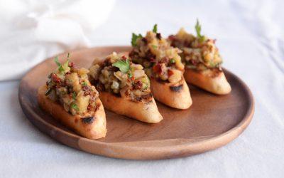 Barbecue: Italiaanse crostini met gepofte aubergine
