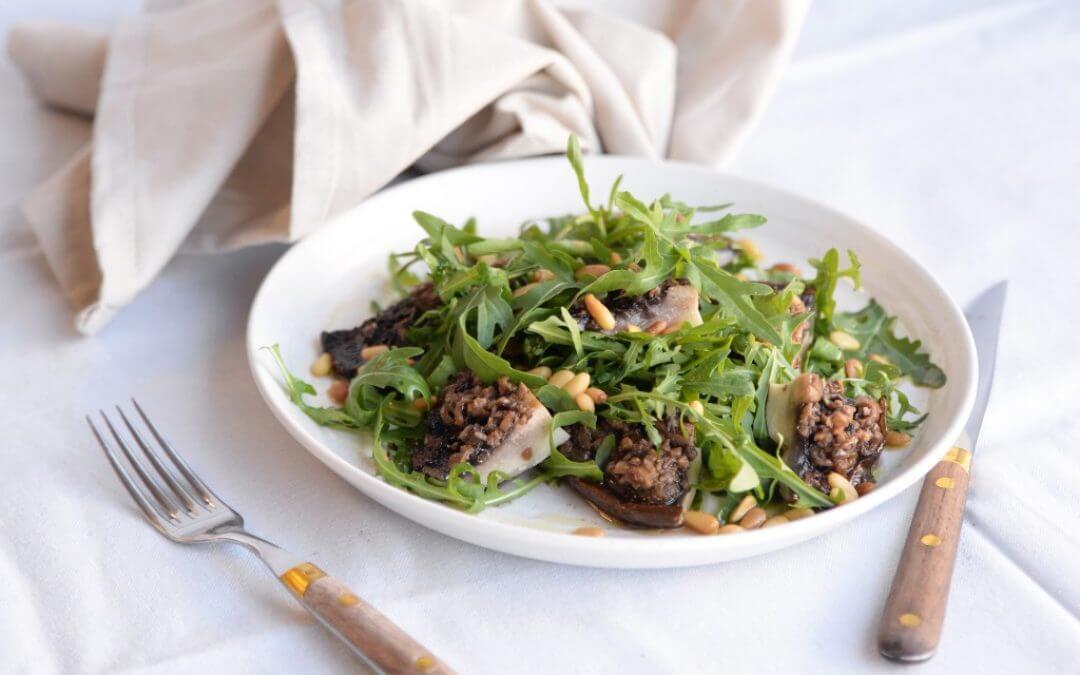 Barbecue: Salade van gegrilde portobello met truffelsalsa